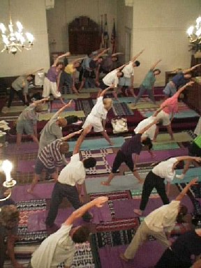 A busier than usual class in Hatha Yoga