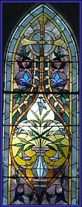 The Old Church on the Green has beautiful stained glass windows from the mid-1800's